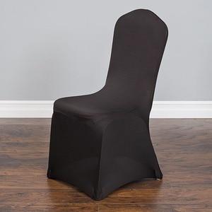 Image 1 - Housse de chaise dintérieur extensible, noire, pour fête, mariage, Banquet, décoration dhôtel, livraison gratuite, 100 pièces