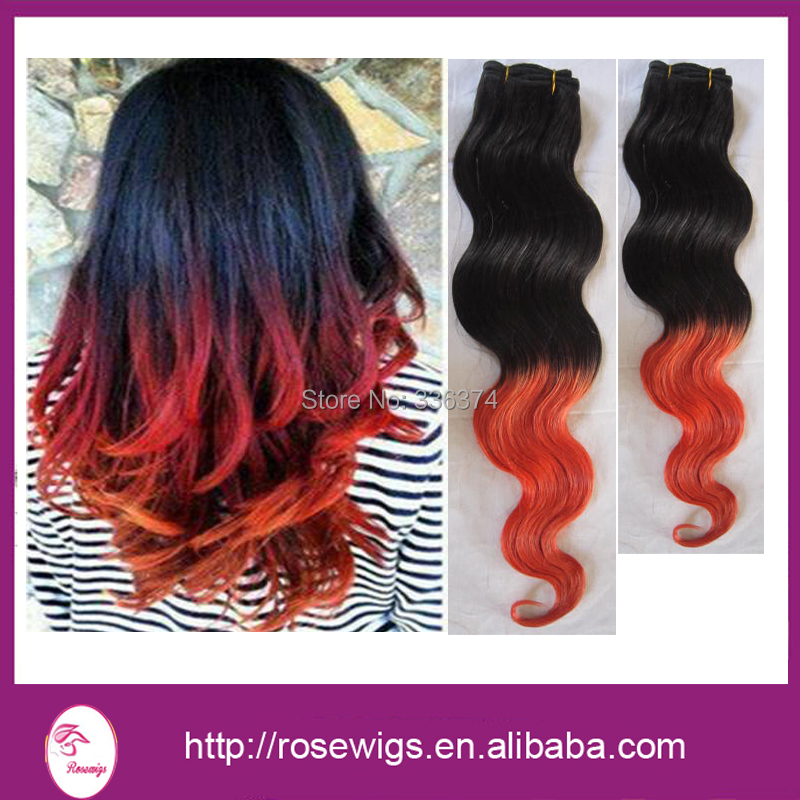 #1B/Red Human Hair Wavy 6A Brazilian Virgin Hair Body Wave Red Hair Weave3 Pcs/Lot Ombre Hair Extensions