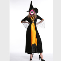 Sexy Black Halloween Witch Costumes New Women Luxury Carnival Party Fancy Masquerade Female Cosplay Dress+ Hat M,L,XL