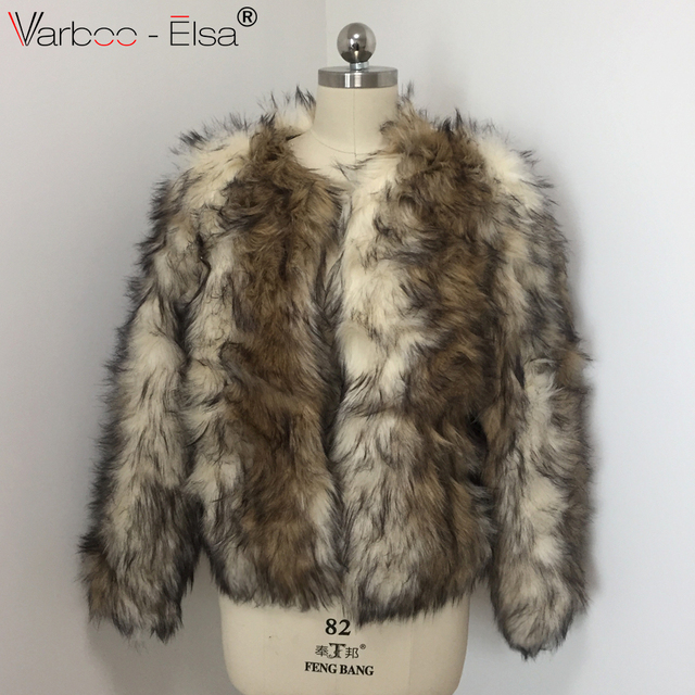 86ae1c168892 VARBOO ELSA Fur Faux Fur Coat Mink Hair Rex Rabbit Hair short Jacket 2017  Fur Overcoat Imitation Rabbit Fur Faux Fox Collar XXXL