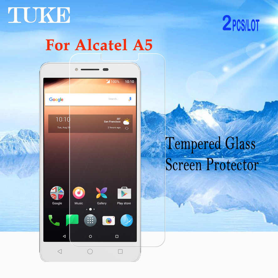 TUKE 2pcs/lot Tempered Glass For Alcatel A5 5085D Screen Glass Film For Alcatel A5 Protector Clear Film With Retail Package