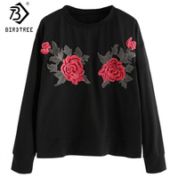 Women Casual Pullovers Red Appliques Rose Women Spring Fall Flower Embroidery Female Round Collar Long Sleeve