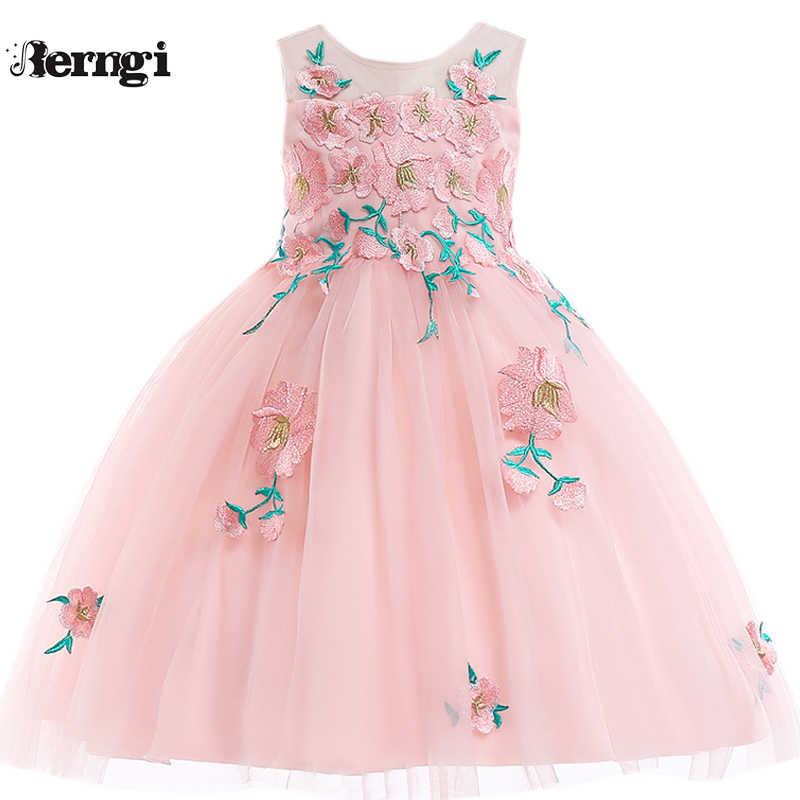 e9680111 Berngi Brand Kids Girl Summer Sleeveless Embroidery 3D Flower Princess Dress  For Children Prom Gown Wedding