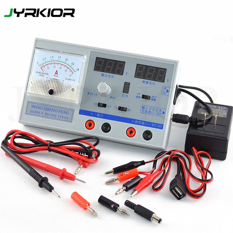 Jyrkior Dual Display Adjustable Digital Regulated Mini DC Power Supply 0-15V 0-3A For Mobile Phone Maintenance Tool