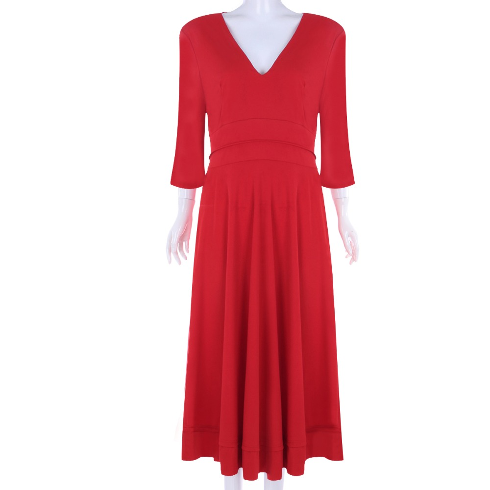 2019 Fashion Hot Ball Gown Dress Women Hepburn Style Pleated Swing High Waist Midi Dress Deep V Neck Ladies Evening Party Dress in Dresses from Women 39 s Clothing