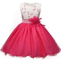 Summer Flower Dress Girl Princess Costume Bridesmaid Dresses Tulle Kids Children Prom Gown Vestido Formal Party
