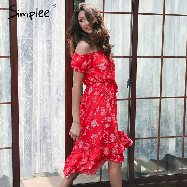 420b35382480d Simplee Off shoulder floral print dress women Lace up vintage ruffle sexy  dress 2017 Elegant beach summer dress tassel vestidos