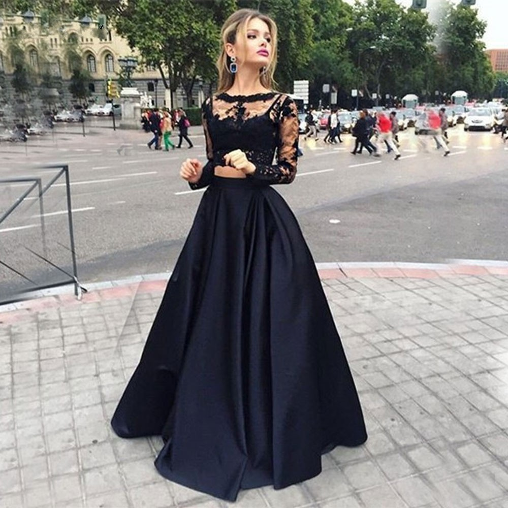 Black Two Pieces Evening Gowns Jewel Neck Long Sleeves Lace Prom ...