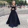 Negro de Dos Piezas Vestidos de Noche de la Joya Del Cuello de Manga Larga de Encaje Vestidos de baile 2 Unidades Crop Top Vestidos de Graduación Largo Piso longitud