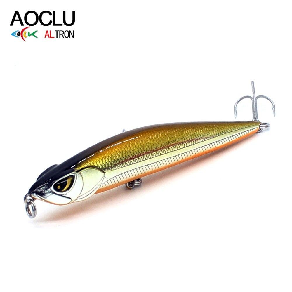 AOCLU Wobblers Stick Pencil Fishing-Lure Sinking Vmc Hooks Hard-Bait Long-Distance 6-Colors