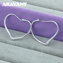 2020 New Arrival 925 Silver Heart Hoop Earring For Women Jewelry Valentines Day Gifts