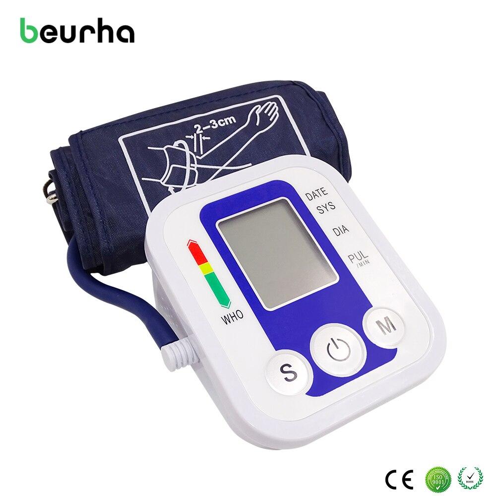 Beurha Digital Upper Arm high blood pressure symptoms measuring Pulse Monitor Portable Monitors Tonometer Meter Sphygmomanometer