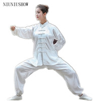 High Quality Chinese Women White Sportswear Tai Chi Martial Arts Suit Female Vintage Button Clothing XXS