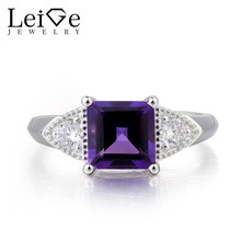 Leige Jewelry Nature Amethyst Ring Anniversary Ring February Birthstone Square Cut Purple Gemstone 925 Sterling Silver for Women