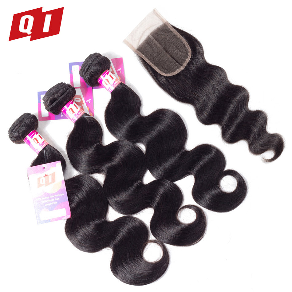 QI Hair Indian Body Wave Hair 4PCS Bundles With Lace Closure Non Remy Hair Natural Color Human Hair 3 Bundles With Closure