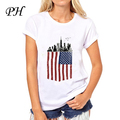 PH Американский Флаг футболки женщины 2016 The Walking Dead Печатных футболку С Коротким рукавом Уокер Флаг Camiseta повседневная Забавный тис