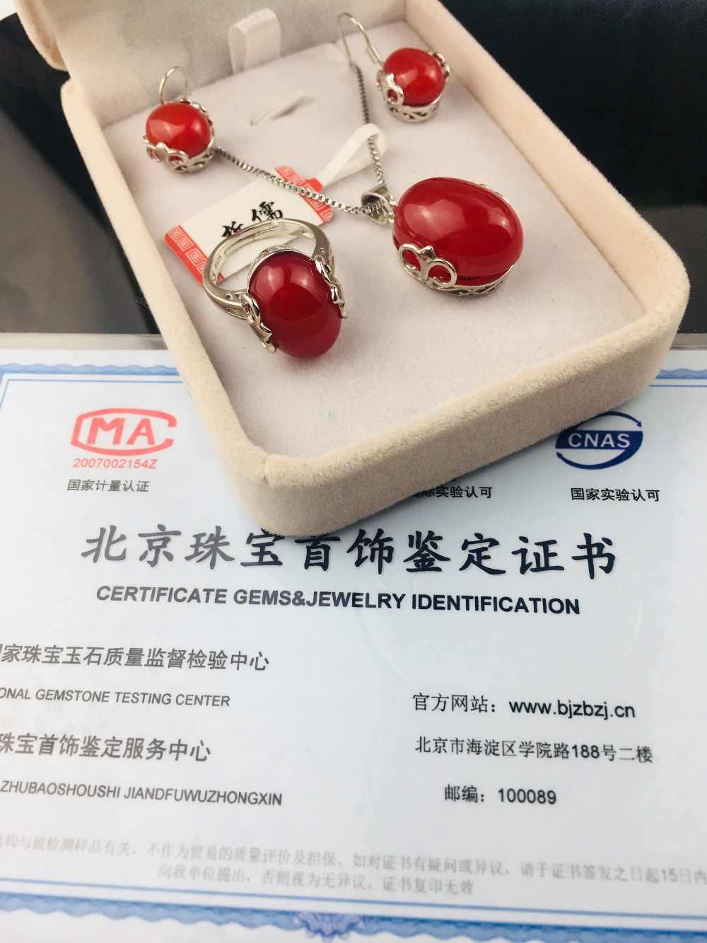 Enviar UM-nível de certificado nacional de ágata vermelho natural 925 prata incrustada clavícula cadeia anel requintado elegante brincos set