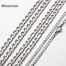 50 см, 60 см, 70 см, цепочка Figaro, ювелирное изделие, классическое ожерелье 3-6 мм, цепочка из нержавеющей стали серебряного цвета для мужчин и женщин