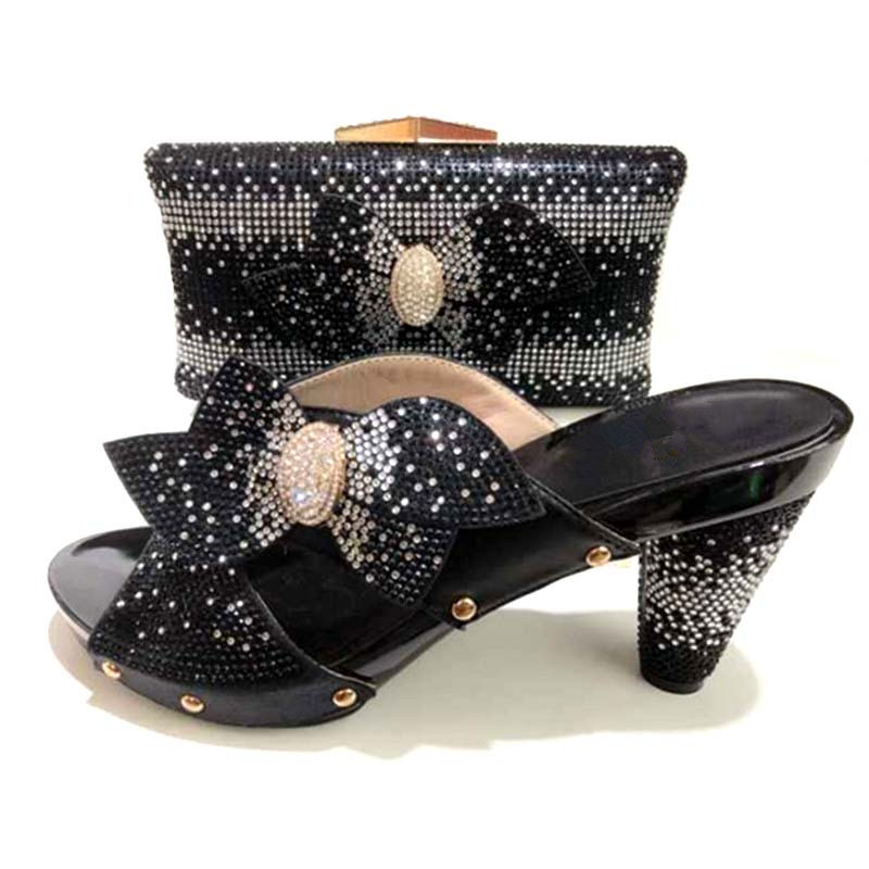 Italian Matching Shoes And Bag Set African Wedding Shoe And Bag Set Italy Shoe And Bag Set Women black High Heels purple african shoe and bag set italian shoe with matching bag shoes and bag set ladies matching shoe and bag italy for wedding