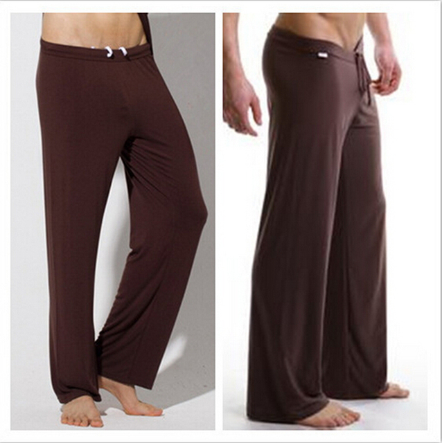 2017 Мужской шелковистые свободные повседневные брюки дышащий случайных брюки шнурок штаны Мужчины салон брюки пижамные брюки