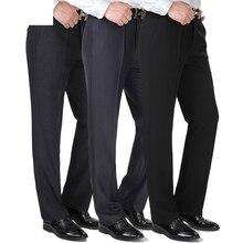 Осень зима мужские прямые брюки костюм Homme платье брюки толстые мужские брюки для официального костюма свободные мужские брюки среднего возраста