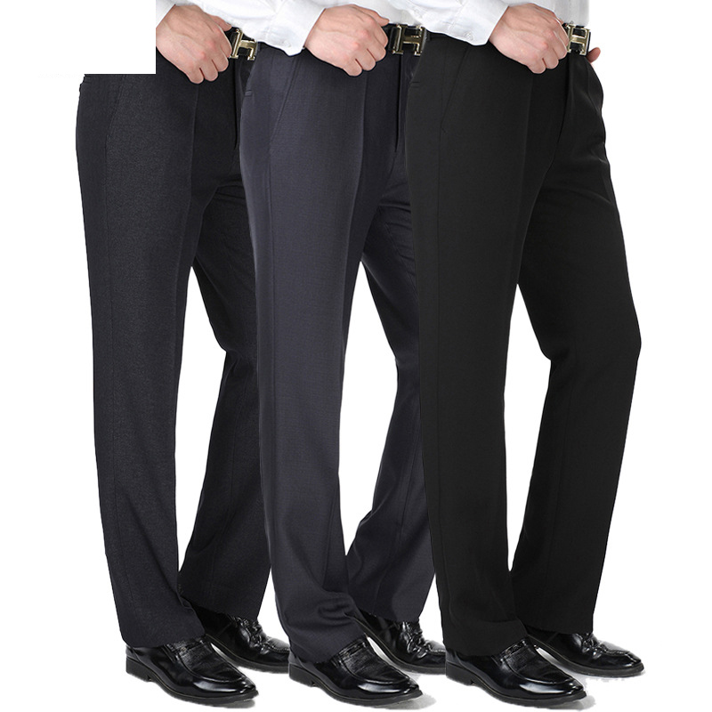 Autumn Winter Mens Straight Pantalon Costume Homme Dress Pants Thick Men Formal Suit Pants Loose Middle Age Male Trousers