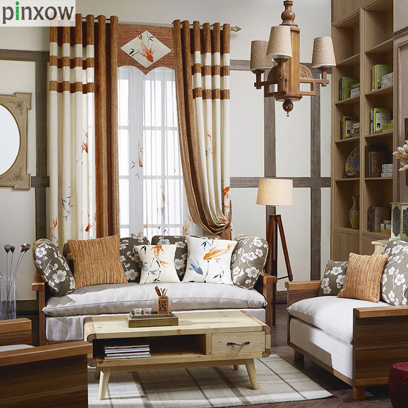 Chinese Hand Painted Curtains Cotton Linen Fabric Bedroom