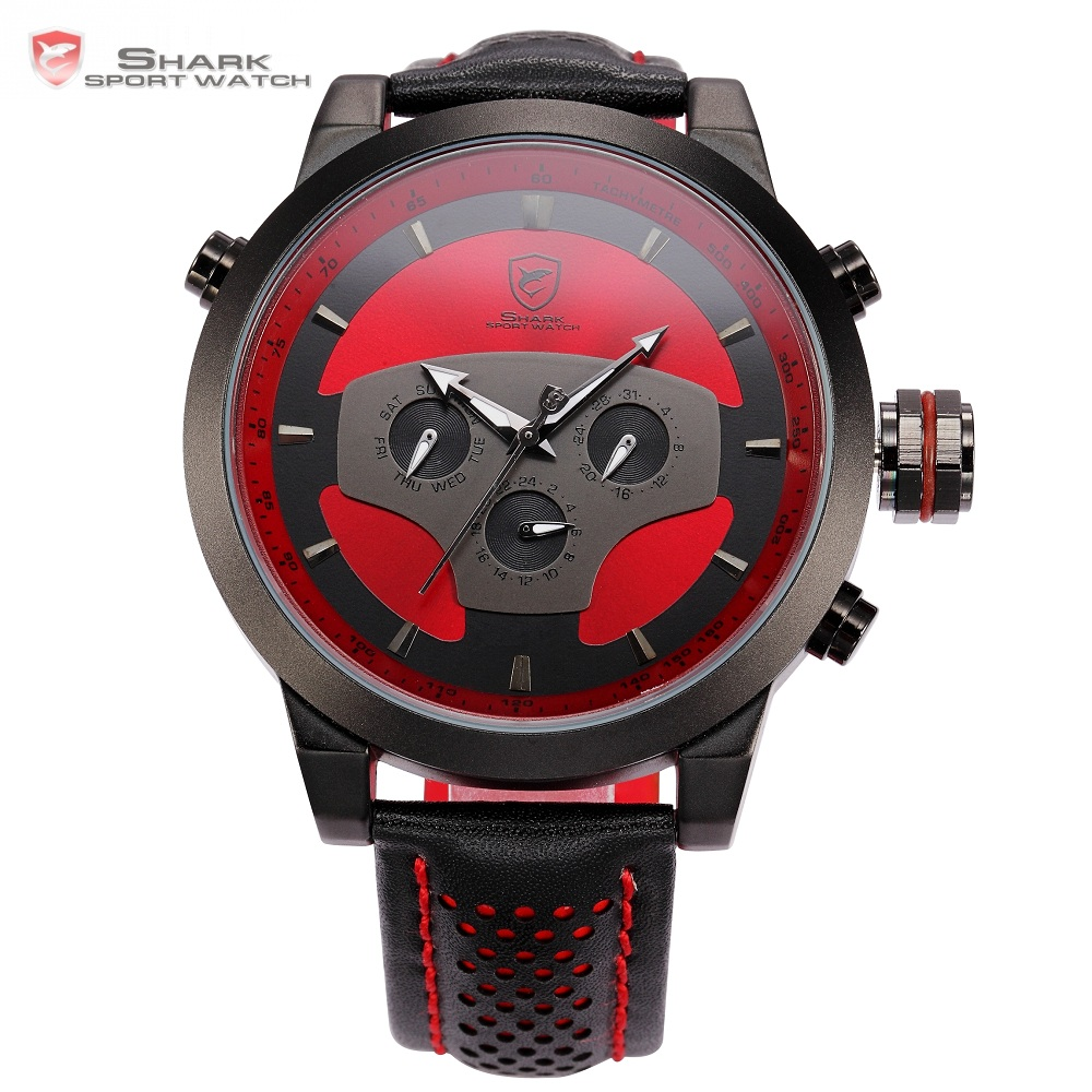 Requiem Shark Sport Watch 6 Hands Leather Strap Calendar 24 Hours Black Red 3D Dial Cycling Analog Mens Quartz Timepiece /SH207