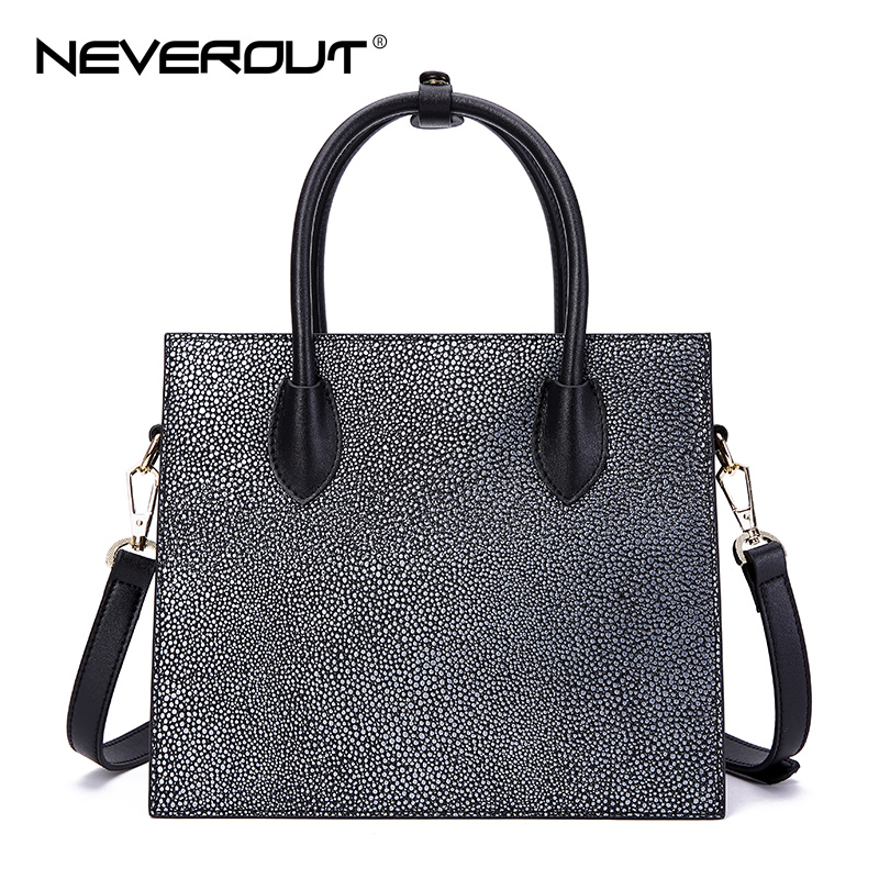 NeverOut Women Split Leather Handbags High Quality Brand Design Tote Bags Top-Handle Shoulder Sac Totes Brand Design New Handbag figestin mini top handle handbags for women fashion split leather green cover shoulder bags small totes crossbody hand bag new
