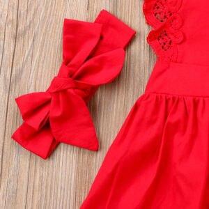 Новое поступление, 2 шт., одежда для детей с красным цветком, кружевное платье-комбинезон с открытой спиной для новорожденных девочек, комбинезоны, одежда для детей 0-24 месяцев