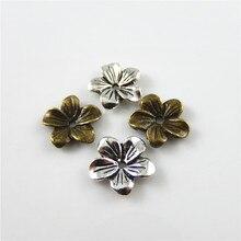 Julie Wang 20 шт. античные серебряные/Бронзовые бусины из сплава в форме цветка, 13*13*2 мм, фурнитура ручной работы, аксессуары для ювелирных изделий