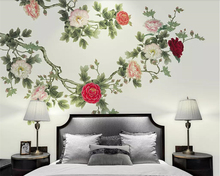 Beibehang Custom wallpaper Chinese style HD hand-painted painting Peony flower open mural TV background 3d