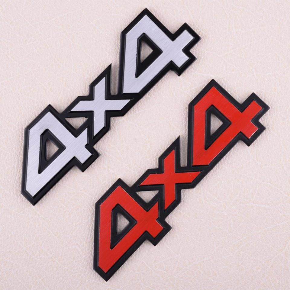 New Red 4x4 Badge Emblem Decal 3D Metal Sticker For Dodge Jeep Chevrolet SUV