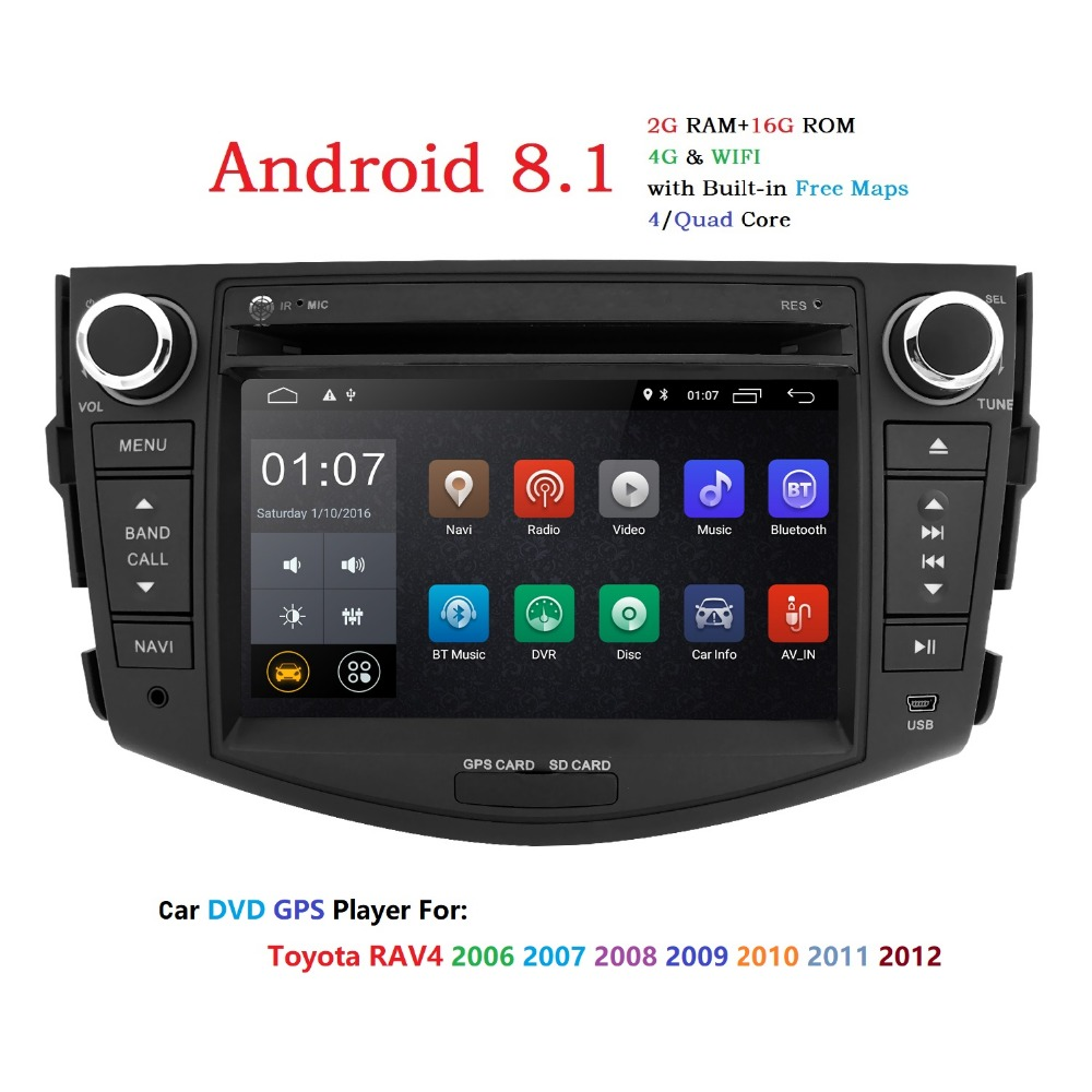 IPS Android 8.1 din dvd player do carro para Toyota Rav RAV4 2 4 2007 2008 2009 2010 2011 fita de Rádio gravador gps wifi rds dab tpms 4G