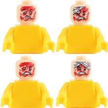 Город МОС аксессуары строительные блоки военный Травмированный спецназ миньфиг лицо головы Блок военный солдат фигурки части блоки игрушки