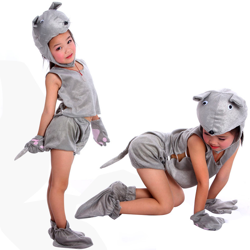 Grey Mouse Rat Child Costume Animal Cosplay Costumes Jumpsuit Kids Clothes