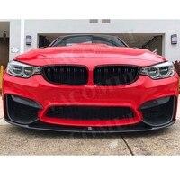 For M3 M4 Carbon Fiber Front bumper Lip for BMW 3 Series F80 M3 4Series F82 F83 M4 2014 2017 FRP black unpainted