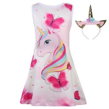 2019 vestido de verano para niñas con estampado de unicornio de mariposa...