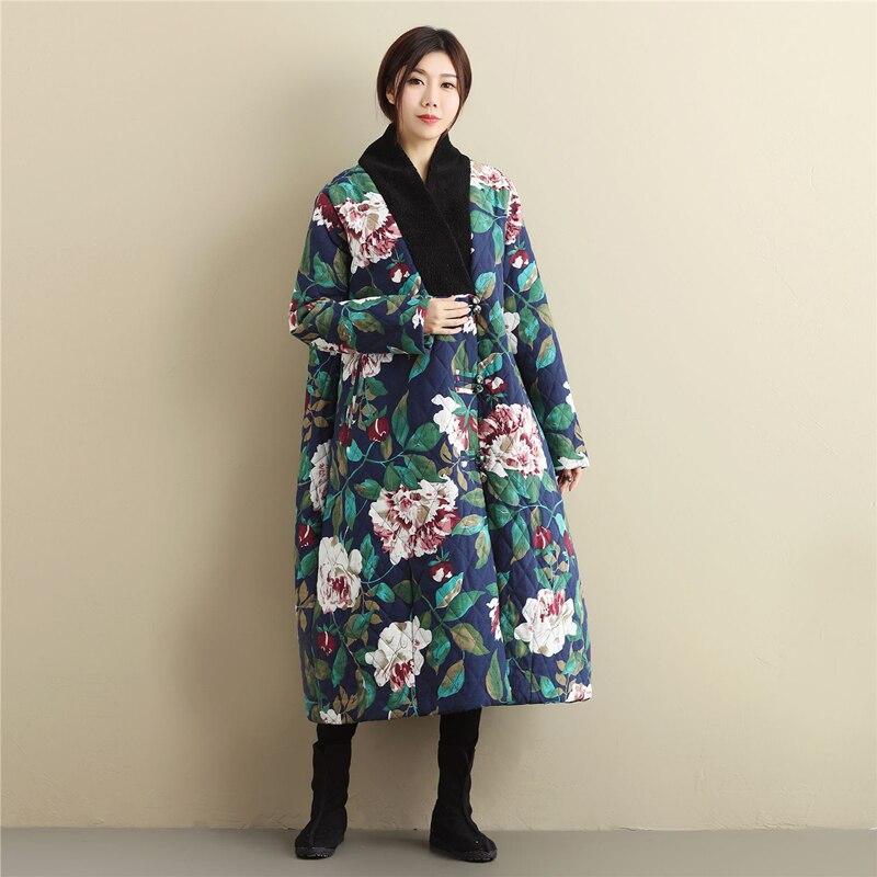 Ethnic Trench Coat Women Winter Jacket Wadded Long Jacket Chinese Winter Coat Autumn Overcoat Kaban Winterjas Dames Jaqueta