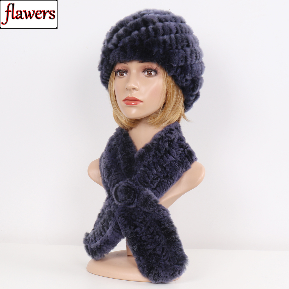 df34f587c 2019 New Women Real Fur Hat Scarf Sets Winter Warm Knit Rex Rabbit Fur Beanies  Hats Scarves Female 100% Natural Fur Hat Scarf