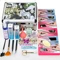 2016 Mulheres Conjunto de Cílios Dupla Camada Beleza 8/10/12mm Longo Alongamento de Cílios Falsos Extensão Maquiagem Kit com Prata Caso Caixa de Salão de Beleza