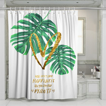 3D Green Tropical Plants Beach Shower Curtain Bathroom Waterproof Polyester Printing Curtains for