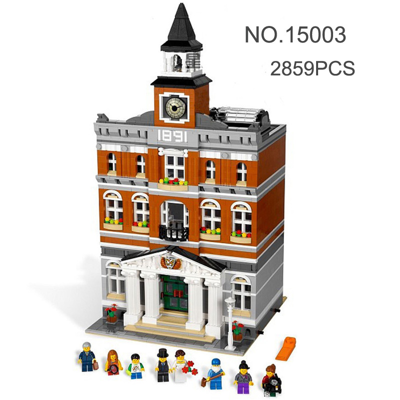 Lepin City Series Building Blocks Set Figure 2859pcs The Town Hall Model Bricks Toys Compatible Christmas Children Gifts 15003 waz compatible legoe city lepin 2017 02022 1080pcs city 50th anniversary town figure building blocks bricks toys for children