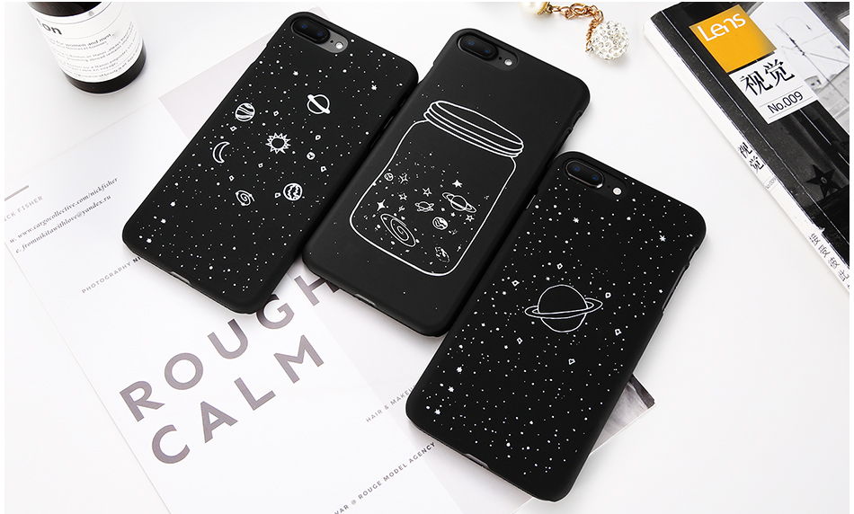 MR.YI Fashion Space Phone Case For iPhone 6 6S 7 8 Plus 5 5S SE X Cute Case Planet Moon Star Back Cover Hard PC For iPhone 7 8 6 (2)