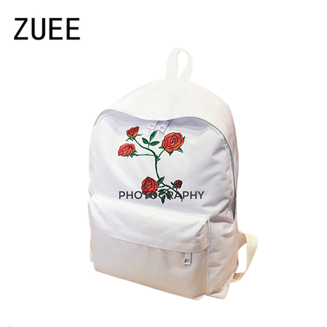 74d6c6bc6a Moon Wood Harajuku Rose Embroidery Backpack White Black Women Travel Backpack  Students Canvas Double Shoulder Bag