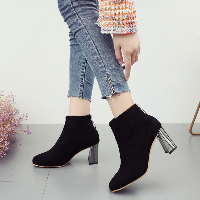 Fashion Booties Female Ankle Boots Wild Martin Boots High Heels Brand Autumn Casual Shoes Autumn Shoes Women 2018 Botas Mujer цена 2017