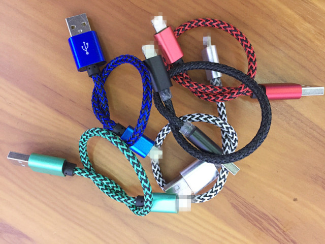 WholeSale price 500pcs/lot 20Cm length micro usb data sync charger fabric nylon cable cord line for samsung htc blackberry LG