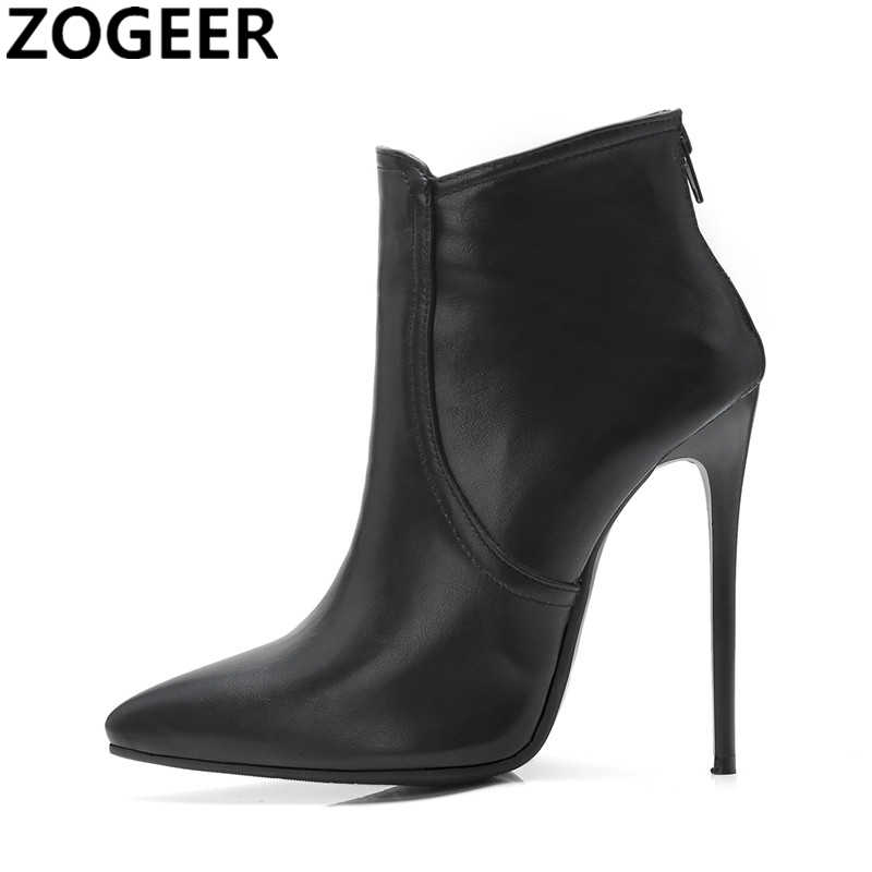 Plus Size 48 Brand Women Ankle Boot New Spring Fashion Pointed Toe Ladies Shoes Thin High Heels Sexy Nightclub Motorcycle Boots