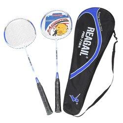 Ringan Badminton Set 2 Pcs/set Tahan Lama Aluminium Alloy Latihan Bulutangkis Raket Raket dengan Membawa Tas Peralatan Olahraga
