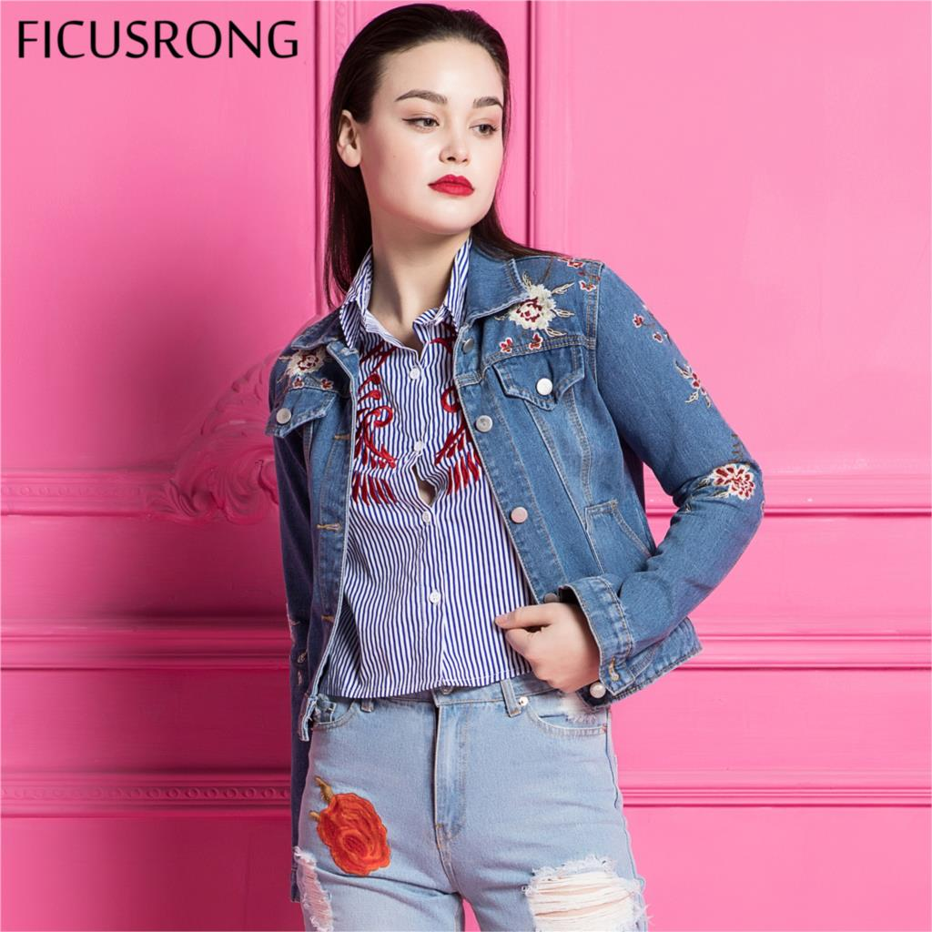 Spring Autumn 2019 Ladies Flower Embroidery Denim   Jacket   For Women Jeans Outerwear Coat Female   Basic     Jackets   Coats FICUSRONG